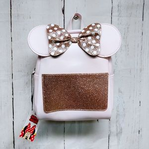 Disney Minnie Mouse Pink Glitter Bow Backpack